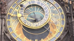 The Orloj clock in the central square of Prague Stock Footage