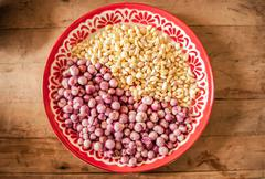 red onion and garlic in salver. - stock photo