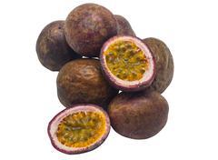 passion fruit, isolated on white - stock photo