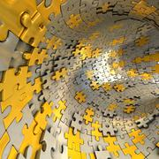 Stock Illustration of tunnel made of gold and silver puzzles.  conceptual 3d illustration,