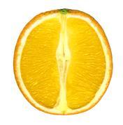 Stock Photo of sliced orange fruit isolated on white background