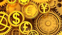 Stock Illustration of fantasy golden clockwork with currency sign. euro gear, dollar, yen, pound