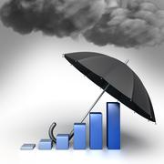 umbrella protects economic chart from bad weather. conceptual illustration - stock illustration