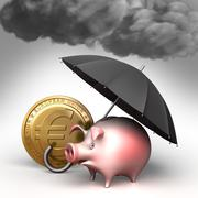 umbrella protects piggy bank,  from bad weather. finance illustration - stock illustration