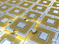 Stock Illustration of puzzle made of fantasy cpu. conceptual technology 3d illustration