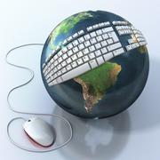 Stock Illustration of digital world. keyboard on earth. elements of this image are furnished by nas