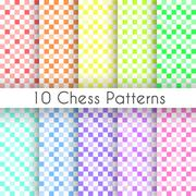 Chess plaid vector seamless patterns. Endless texture Stock Illustration