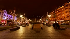 Rembrandt square in Amsterdam, Holland Stock Footage