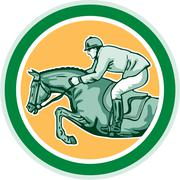 Stock Illustration of equestrian show jumping side circle retro