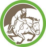 Stock Illustration of equestrian show jumping circle retro.
