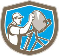 Tv satellite dish installer shield retro Stock Illustration