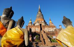 Wat Yai Chai Mongkol in Thailand - stock photo