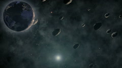 Meteorolite waggle in aerospace with earth zoom in Stock Footage
