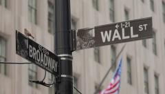 Wall Street and Broadway street sign in New York City 4k - stock footage