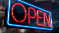 Flashing neon open sign - 3D animated Stock Footage