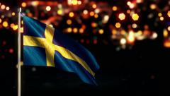 Sweden National Flag City Light Night Bokeh Loop Animation - 4K UHD Stock Footage