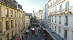 Looking north on Rue de Mogador - Paris France - HD 4k+ Stock Footage