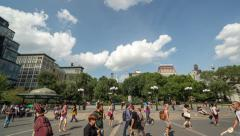 Union Square park in New York City timelapse people walking Stock Footage