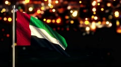 United Arab Emirates National Flag City Light Night Bokeh Loop Animation Stock Footage