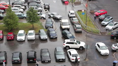 The bottleneck of roads near parking area in downtown. Saint-Petersburg, Russia - stock footage