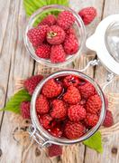 Portion of preserved raspberries Stock Photos