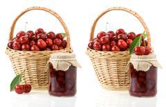 Cherry jam isolated on white Stock Photos
