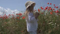 Happy Little Girl Walking, Countrywoman Child in Poppy Flower Field, Children Stock Footage