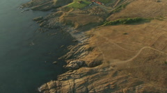 Flight over sea coast with cliffs. Stock Footage