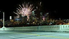 Fireworks Over Los Angeles City Skyline Night Stock Footage