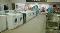 White goods and electronics appliance store Stock Footage