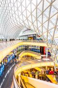 Architectural features of the myzeil shopping mall in frankfurt Stock Photos