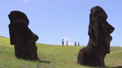 Tourists at Rano Raraku Moai Factory, Easter Island, Rapa Nui Stock Footage