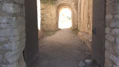 Stock Video Footage of Entrance in Antique, Ancient Ruined Castle in Greece, Ruins Fortress, Monument