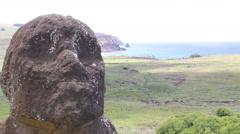 View from Rano Raraku Moai Factory, Easter Island, Rapa Nui Stock Footage