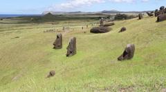 Rano Raraku Moai Factory, Easter Island, Rapa Nui Stock Footage