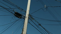 Chaotic electrical wire pole Stock Footage