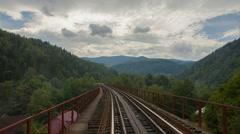 Railway bridge over the river, Yaremche, Ukraine Stock Footage