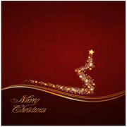 Christmas decoration in red and gold stripes Stock Illustration