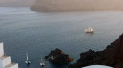Sailing vessel from top of the cliff Stock Footage