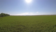 Stock Video Footage of Up over green fields. Aerial landscape with sun