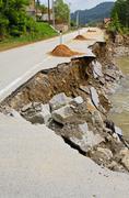 landslide damage - stock photo