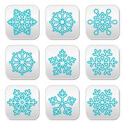 Stock Illustration of Snowflakes, winter blue decoration buttons set