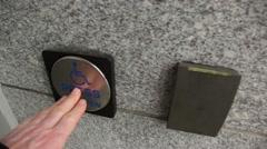 Opening a handicap automatic door. Stock Footage