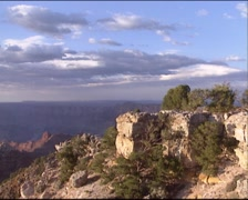 GRAND CANYON view from east rim drive at rock escarpment - pan Stock Footage