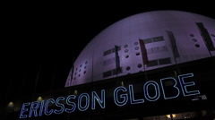 Stockholm Globe arena at night 2 Stock Footage