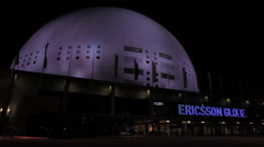 Stockholm Globe arena at night 3 Stock Footage