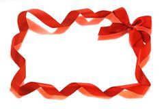 Red bow ribbons border Stock Illustration