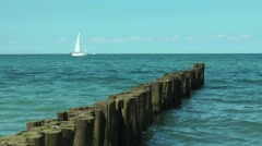 sailing boat baltic sea segelboot auf der ostsee - stock footage