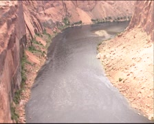 Full screen water Colorado river + zoom out gorge Glen Canyon Stock Footage