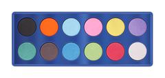Powder color palette tray on white background. Stock Photos